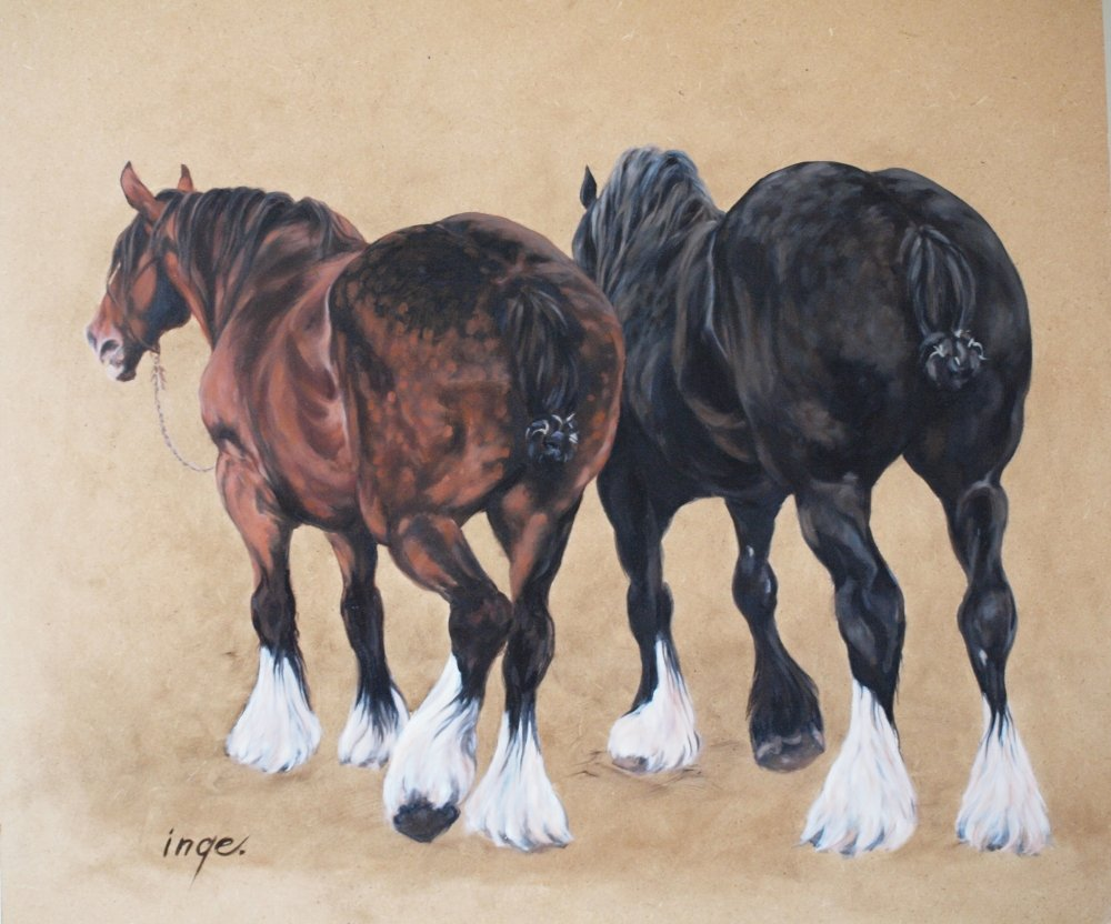 Two workinghorses made in oil on board